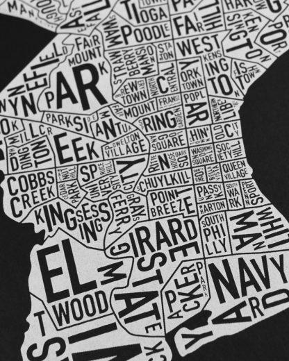 "Philadelphia Neighborhood Map Screenprint, Black & White, 11"" x 14"""