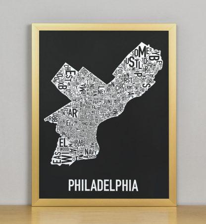 """Framed Philadelphia Neighborhood Map Screenprint, Black & White, 11"""" x 14"""" in Bronze Frame"""