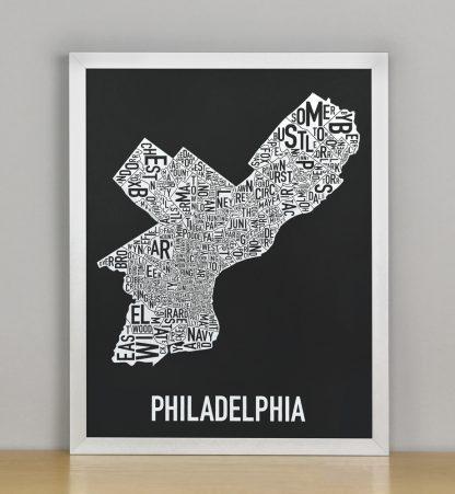 """Framed Philadelphia Neighborhood Map Screenprint, Black & White, 11"""" x 14"""" in Silver Frame"""