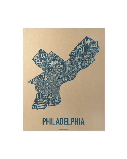"Philadelphia Neighborhood Map, Gold & Blue Screenprint, 11"" x 14"""