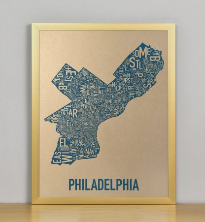"Framed Philadelphia Neighborhood Map, Gold & Blue Screenprint, 11"" x 14"" in Bronze Frame"