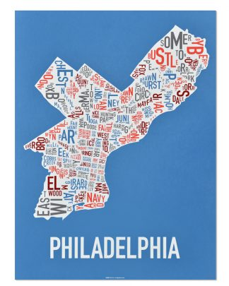 "Philadelphia Neighborhood Map Screenprint, Blue Multi, 18"" x 24"""