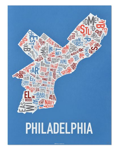 "Philadelphia Neighborhood Map Screenprint, Blue Multi, 18"" x 24"""