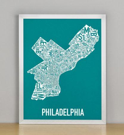 """Framed Philadelphia Typographic Neighborhood Map Screenprint, Teal & White, 11"""" x 14"""" in Silver Frame"""