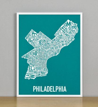 """Framed Philadelphia Typographic Neighborhood Map Screenprint, Teal & White, 11"""" x 14"""" in White Metal Frame"""