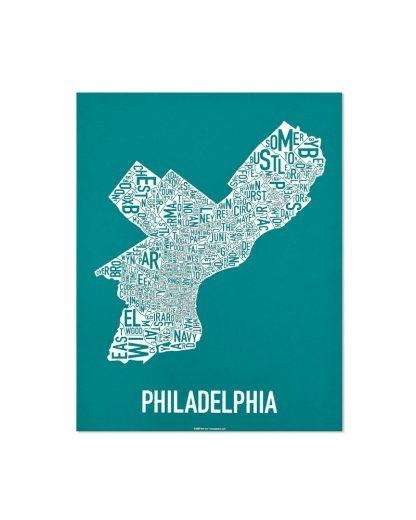 "Philadelphia Neighborhood Map Screenprint, Teal & White, 18"" x 24"""