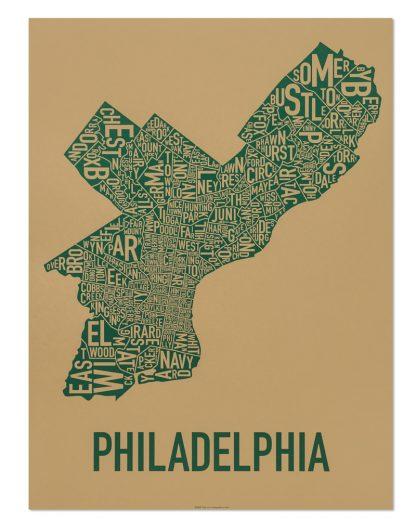 "Philadelphia Neighborhood Map Screenprint, Tan & Green, 18"" x 24"""