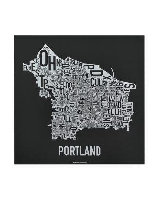 "Portland Neighborhood Map, Black & White Screenprint, 12.5"" x 12.5"""