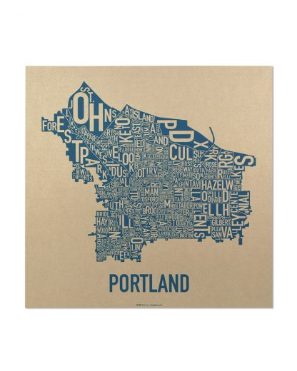"Portland Oregon Neighborhood Map, Gold & Blue Screenprint, 12.5"" x 12.5"""