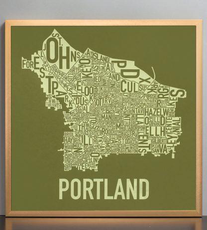 "Framed Portland Neighborhood Map Screenprint, Green & Green, 18"" x 18"" in Bronze Frame"