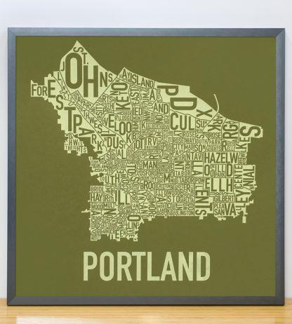 "Framed Portland Neighborhood Map Screenprint, Green & Green, 18"" x 18"" in Steel Grey Frame"
