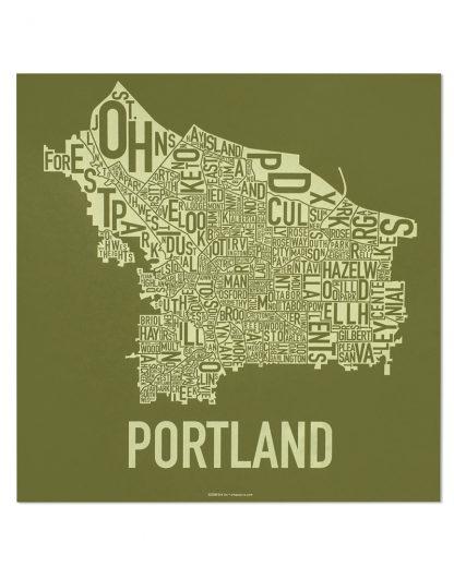"Portland Neighborhood Map Screenprint, Green & Green, 18"" x 18"""