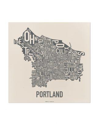 "Portland Neighborhood Map, 12.5"" x 12.5"", Ivory & Grey Screenprint"