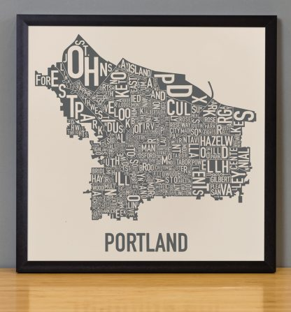 "Framed Portland Neighborhood Map, 12.5"" x 12.5"", Ivory & Grey Screenprint in Black Metal Frame"