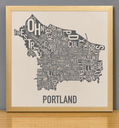 "Framed Portland Neighborhood Map, 12.5"" x 12.5"", Ivory & Grey Screenprint in Bronze Frame"