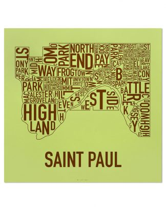 "St Paul Neighborhood Map Screenprint, Green & Brown, 20"" x 20"""