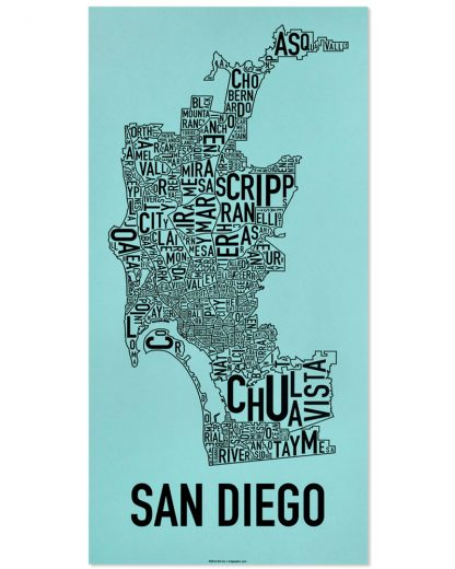 "San Diego Neighborhood Map Screenprint, Turquoise & Black, 13"" x 26"""