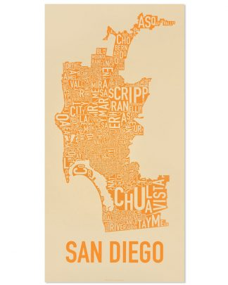 "San Diego Neighborhood Map Screenprint, Tan & Orange, 13"" x 26"""