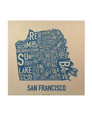 "San Francisco Neighborhood Map, Gold & Blue Screenprint, 12.5"" x 12.5"""