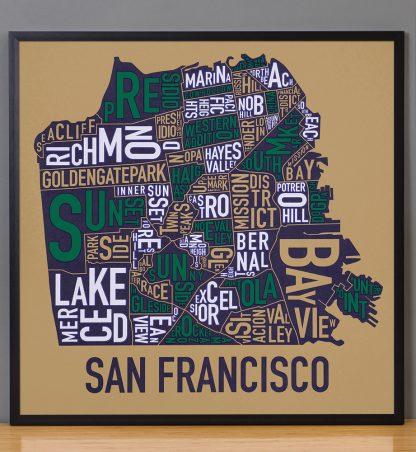 "Framed San Francisco Neighborhood Map Screenprint, Tan & Multi, 22"" x 22"" in Black Frame"