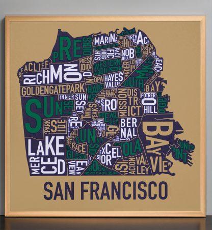 "Framed San Francisco Neighborhood Map Screenprint, Tan & Multi, 22"" x 22"" in Bronze Frame"
