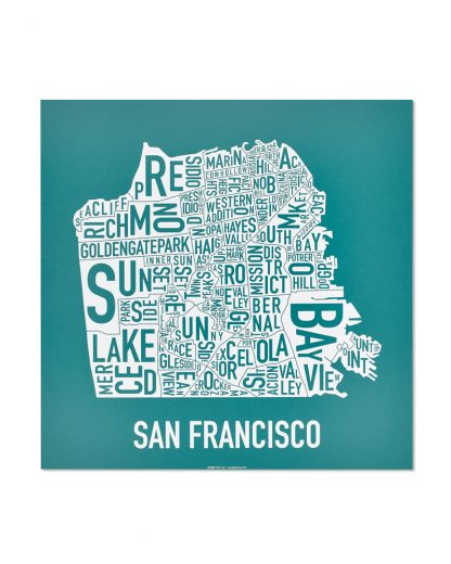 "San Francisco Neighborhood Map Screenprint, Teal & White, 12.5"" x 12.5"""