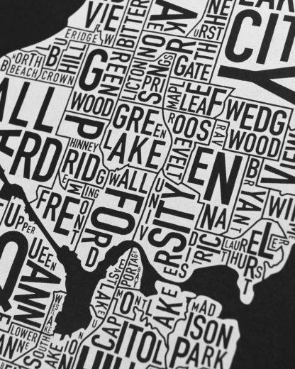 "Seattle Neighborhood Map Screenprint, Black & White, 11"" x 14"""