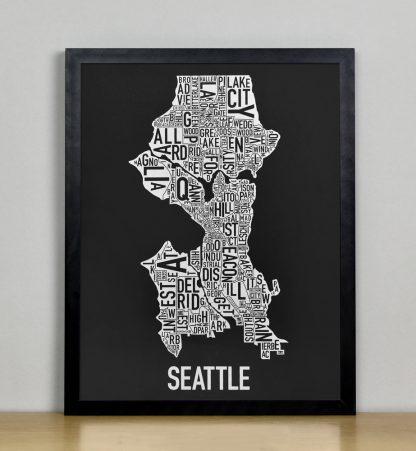 "Seattle Neighborhood Map Screenprint, Black & White, 11"" x 14"" in Black Frame"