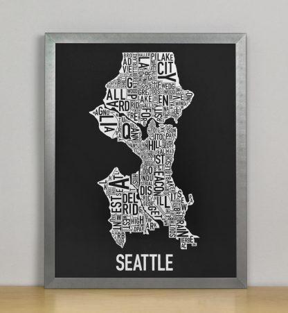 "Seattle Neighborhood Map Screenprint, Black & White, 11"" x 14"" in Steel Grey Frame"