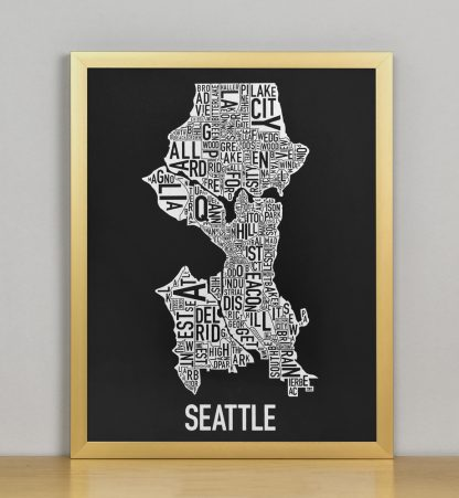 "Seattle Neighborhood Map Screenprint, Black & White, 11"" x 14"" in Bronze Frame"