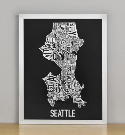 "Seattle Neighborhood Map Screenprint, Black & White, 11"" x 14"" in Silver Frame"