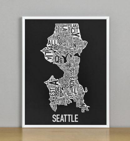 "Seattle Neighborhood Map Screenprint, Black & White, 11"" x 14"" in White Metal Frame"