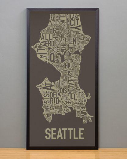 "Framed Seattle Neighborhood Map Screenprint, Brown & Gold, 13"" x 26"" in Black Frame"