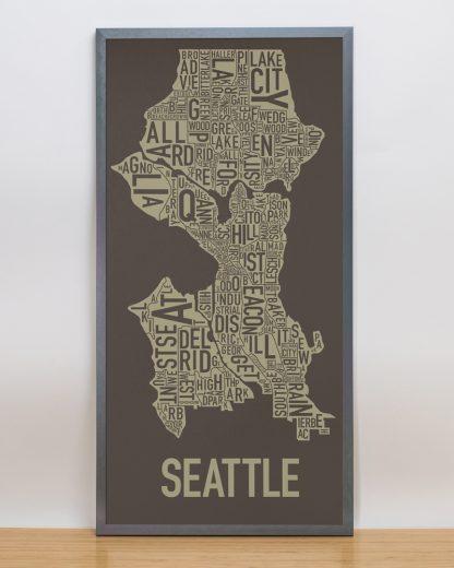 "Framed Seattle Neighborhood Map Screenprint, Brown & Gold, 13"" x 26"" in Steel Grey Frame"