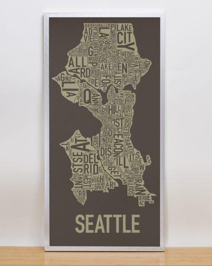 "Framed Seattle Neighborhood Map Screenprint, Brown & Gold, 13"" x 26"" in Silver Frame"