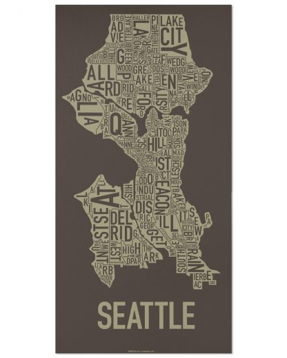 "Seattle Neighborhood Map Screenprint, Brown & Gold, 13"" x 26"""