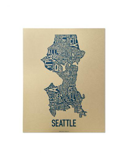 "Seattle Neighborhood Map, Gold & Blue Screenprint, 11"" x 14"""