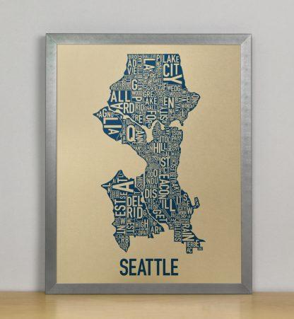 """Framed Seattle Neighborhood Map, Gold & Blue Screenprint, 11"""" x 14"""" in Steel Grey Frame"""