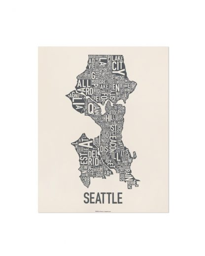 "Seattle Neighborhood Map Screenprint, Ivory & Grey, 11"" x 14"""