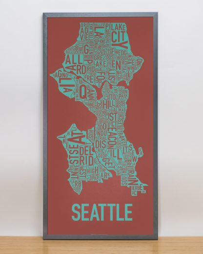 "Framed Seattle Neighborhood Map Screenprint, Rust & Teal, 13"" x 26"" in Steel Grey Frame"