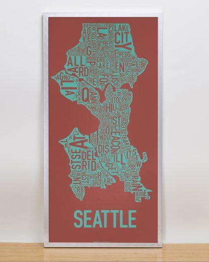"Framed Seattle Neighborhood Map Screenprint, Rust & Teal, 13"" x 26"" in Silver Frame"