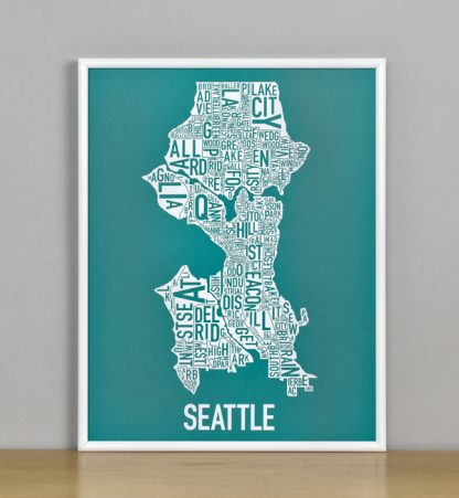 "Framed Seattle Typographic Neighborhood Map Screenprint, Teal & White, 11"" x 14"" in White Metal Frame"