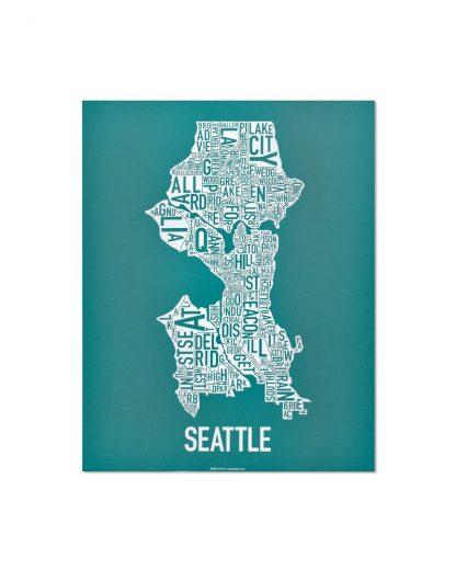 "Seattle Neighborhood Map Screenprint, Teal & White, 11"" x 14"""