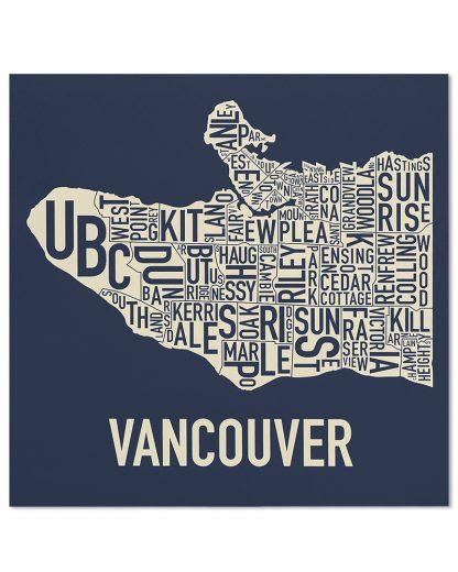 "Vancouver Neighbourhood Map Screenprint, Navy & Ivory, 18"" x 18"""