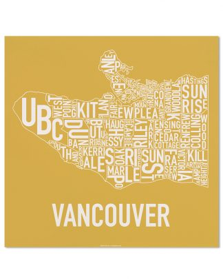 "Vancouver Neighbourhood Map Screenprint, Ochre & White, 18"" x 18"""