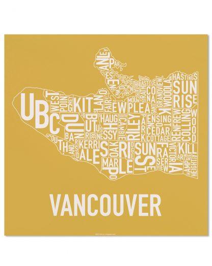 """Vancouver Neighbourhood Map Screenprint, Ochre & White, 18"""" x 18"""""""