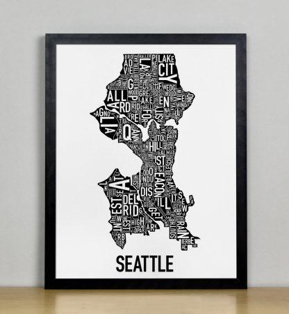 "Framed Seattle Neighborhood Map Poster, Classic B&W, 11"" x 14"" in Black Frame"