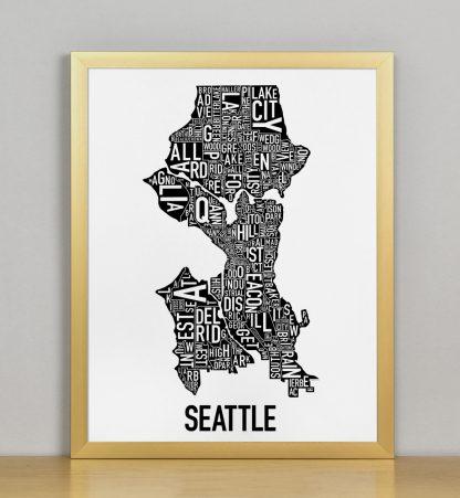 "Framed Seattle Neighborhood Map Poster, Classic B&W, 11"" x 14"" in Bronze Frame"