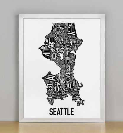 """Framed Seattle Neighborhood Map Poster, Classic B&W, 11"""" x 14"""" in Silver Frame"""