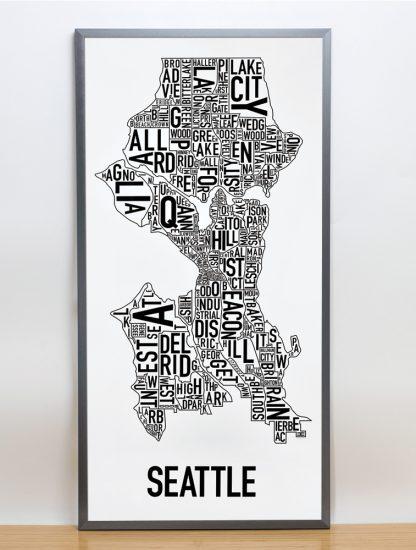 "Framed Seattle Neighborhood Map Poster, Classic B&W, 16"" x 32"" in Steel Grey Frame"